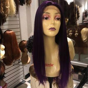 Purple wig 360 Swisslace Long trending now 2019